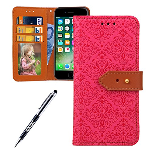 JAWSEU Coque Etui pour iPhone 6 Plus/6S Plus 5.5,iPhone 6S Plus Leather Case with Strap,iPhone 6 Plus Etui en Cuir Folio Flip Wallet Cover Case,2017 Neuf Style Femme Homme Up and Down Unlock Holster R Rose rouge*