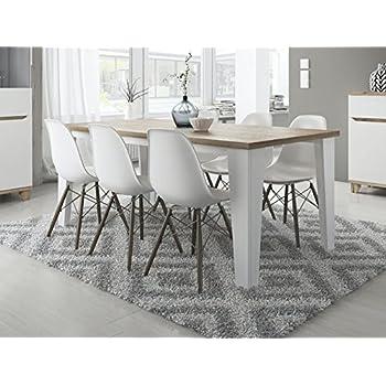 Table De Salle A Manger Blanche.Tendencio Table Salle A Manger Style Scandinave Lier 160 Cm Blanc Et Pieds Bois