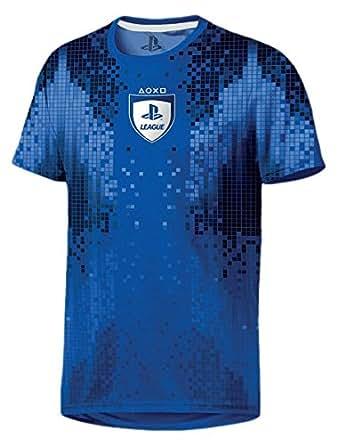 PlayStation - League 8-Bit Hommes T-Shirt - Bleu, Tamaño:S