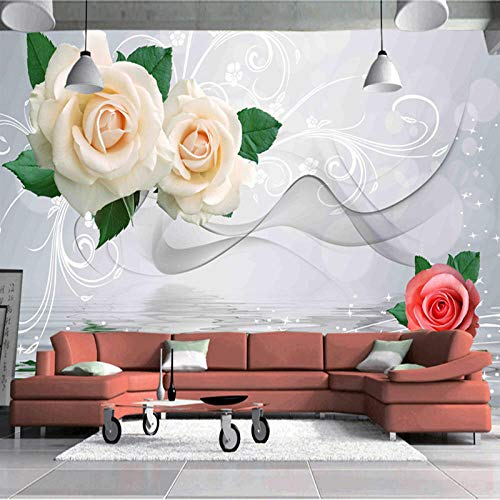 Fototapete 3D Effekt Benutzerdefinierte 3D Fototapete Moderne Einfache Mode Rosen Blume Abstrakte Rauch Nebel Kunst Wohnzimmer Tv Hintergrund Home Wandmalerei 430X300 Cm