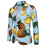 Gusspower Herren Sakkos Blazer Slim Fit Modern Ananas Muster Einreihig Revers Anzugjacke Party Smoking Winter Mantel