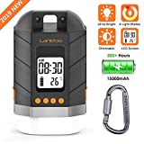 lanktoo Rechargeable LED Camping Lantern 15000mAh Power Bank with LCD Screen, 4 Light Modes, Stepless Dimming, Time & Temperature Display, Water Resistant Outdoor Tent Light for Hiking Power Cuts