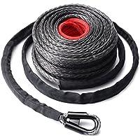 Cuerda de cabrestante sintética, cable de línea de cabrestante de 9,5 mm * 28 m con gancho y funda protectora, para vehículos todo terreno, vehículos utilitarios deportivos