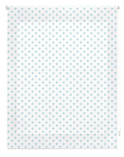 Blindecor Stars Estor Enrollable, Tela, Blanco con Estrellas Turquesa, 160 x 180 cm