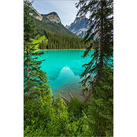 Stampa su legno 20 x 30 cm: Panoramic View the Emerald Lake in Canada - British Columbia di rclassen
