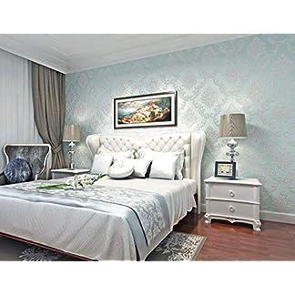 Wallpaper Papel Pintado Damasco azul claro No-Tejido de Papeles Muro Decoración de Pared para Dormitorio TV Telón de Fondo 0.53x10m