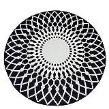 Moderne Teppich Runde Teppich Schwarz und Weiß Blended Einfache Europäische Wohnzimmer Studie Veranda Kaffeetisch Computer Stuhl Kaffeetisch Matte (größe : Diameter80cm)