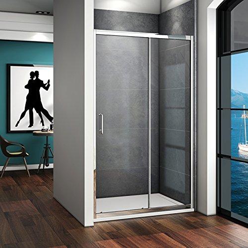 100 x 185 cm Nischentür Duschtür Schiebetür Duschabtrennung Duschwand aus 5mm ESG Sicherheitsglas Klarglas ohne Duschtasse - 2