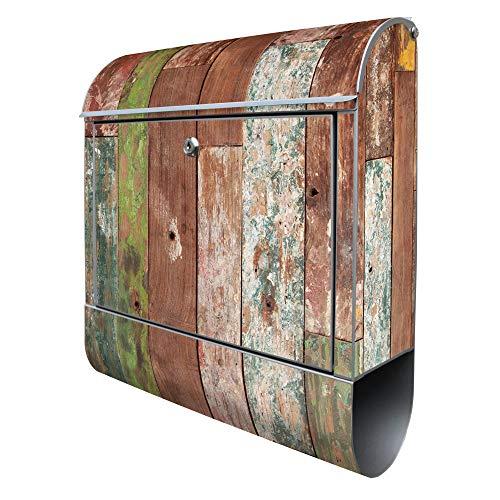 Banjado Design Briefkasten mit Motiv Buntes Holz | Stahl pulverbeschichtet mit Zeitungsrolle | Größe 38x47x14cm, 2 Schlüssel, A4 Einwurf, inkl. Montagematerial