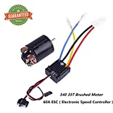 Crazepony-UK 540 35T Brushed Motor with 60A ESC Carbon Brushed Shaft 3.175mm for 1/10 RC Car Truck Running Off-Road Vehicle