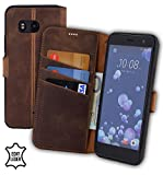 Suncase HTC U11 Book-Style (Slim-Fit) Ledertasche Leder Tasche Handytasche Schutzhülle Case Hülle (mit Standfunktion und Kartenfach - Bruchfester Innenschale) antik Coffee