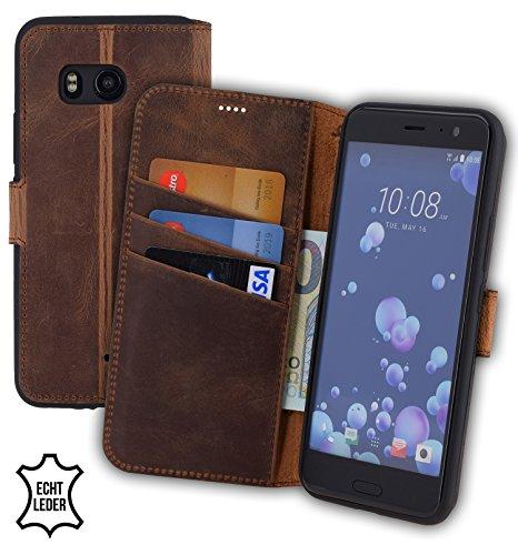 Suncase Book-Style kompatibel für HTC U11 Hülle (Slim-Fit) Leder Tasche Handytasche Schutzhülle Case (mit Standfunktion und Kartenfach - Bruchfester Innenschale) in antik Coffee