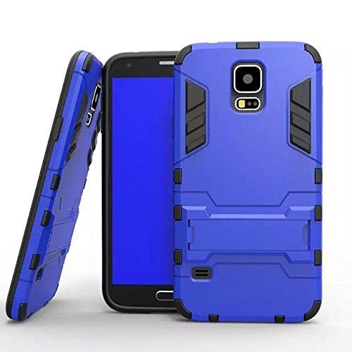 S5 i9600 cas, Lantier [peau de maturité de son style] 2 en 1 combo double couche [cas grave] effets de robots de glissement hybride amovibles de couverture avancée armure de silicone claquant dur sur  S5 bleu i9600