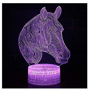 Magisches Nachtlicht 3D, 7 Farb-LED-Licht, kleine Tischlampe/USB-Fernbedienung/Pferdeskulptur/junge und Mädchen-Nachttischlampe/Hauptdekoration,B