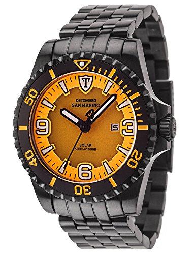 DETOMASO Herrenuhr Quarz Edelstahlgehäuse Edelstahlarmband Saphirglas SAN MARINO SOLAR Taucheruhr Trend orange/schwarz DT1053-B