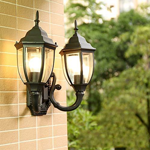 ZMING Luz de Pared de Doble Cabeza al Aire Libre Retro Europea, luz de jardín con balcón al Aire...