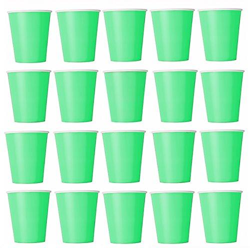 Lot de 50 gobelets jetables - Vert clair - En carton écologique - Pour boissons froides et chaudes - Parfaits pour un mariage, un anniversaire, un pique-nique, une fête dans le jardin, un barbecue