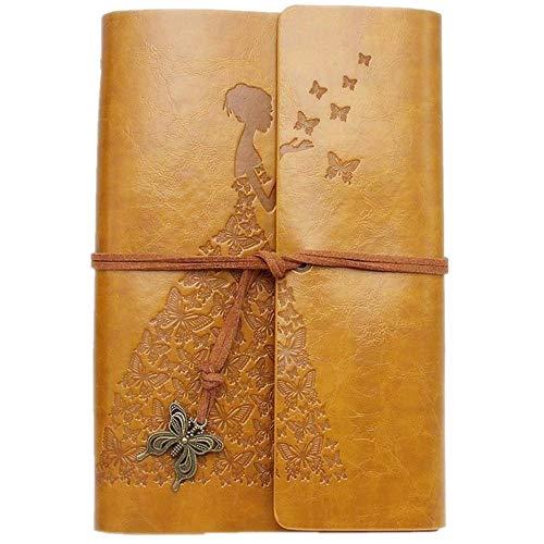 MaleDen Leder-Tagebuch, Vintage-Stil, Spiralbindung, Skizzenbuch, nachfüllbar, Reisetagebuch zum Schreiben mit leeren Seiten für Frauen Mädchen Geschenke A6 gelb