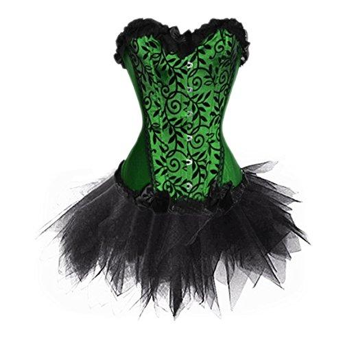 Rosfajiama Frauen Steampunk Korsett Schnüren Kunstleder Corsage Burlesque Kostüm Clubwear 6X-Groß - Günstige Clubwear Kostüm