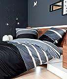 Janine Biber Bettwäsche Davos 4 teilig Bettbezug 135 x 200 cm Kopfkissenbezug 80 x 80 cm Graphit schwarz Streifen