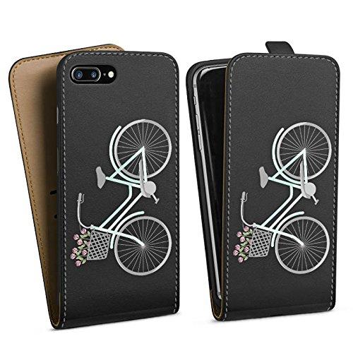 Apple iPhone 7 Silikon Hülle Case Schutzhülle Fahrrad Frankreich Retro Downflip Tasche schwarz