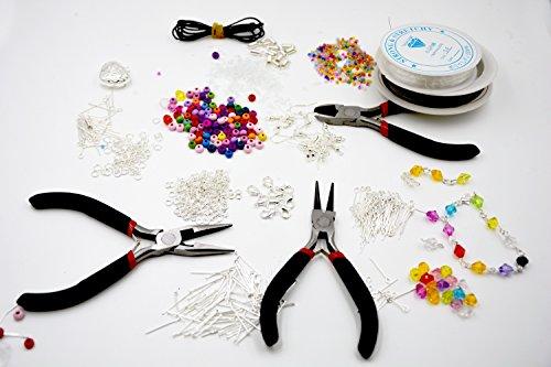 1000 teiliges luxoriöses Schmuckherstellungs Set mit Perlen, Zangen, Kord und versilberten Accessoires [version:x8] by DELIAWINTERFEL