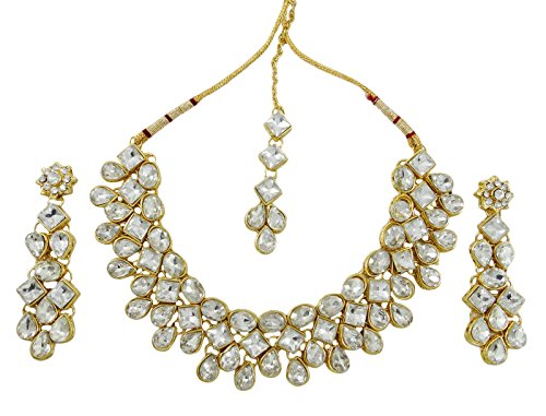 Banithani Collier de mariage Bollywood Goldtone traditionnel indien Boucles d'oreilles Tikka Set Bijoux Or-2