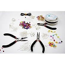Kit de Fabricación de Joyería de Lujo para Principiantes de 1000 Piezas Con Set de Perlas, Alicates, Cordón, Accesorios Chapados en Plata [version:x8] by DELIAWINTERFEL