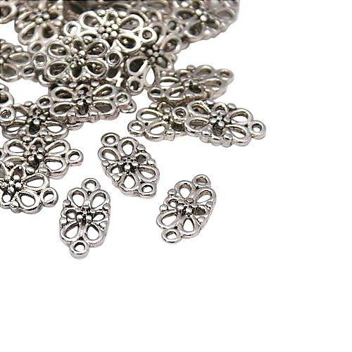 Tono argento antico link in stile tibetano di fiori, senza piombo & nichel & cadmio, 16x8x3.5 mm, Foro: 1.5 mm