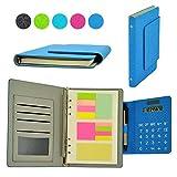 Multifunzione Organizzatori Personali 6 Anello Cuoio Tessuto Riempibile Binder Taccuino con Calcolatrice Solare Note Adesive Slot per Schede per Business Ufficio (Blu) 8.5''