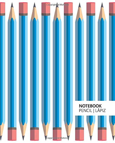 Notebook Pencil | Lápiz: (Light Blue Stationery Edition) Fun notebook 192 ruled/lined pages (8x10 inches / 20.3x25.4 cm / Large Jotter)