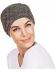 Gorro Karma con bambú compuesto de gorra + banda superpuesta estampado negro y beige para mujeres en tratamiento de quimioterapia