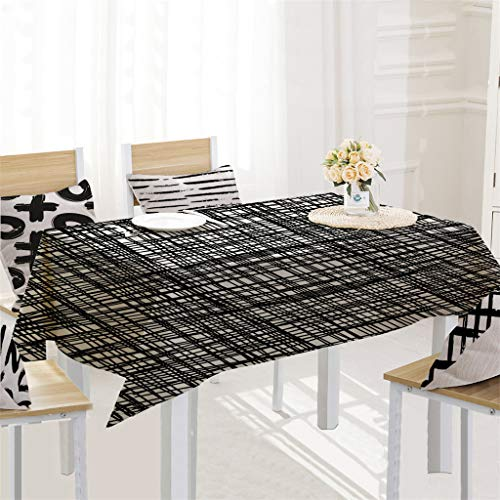 DIKHBJWQ Einfache tischdecke leinen tischdecke für küche dekorative esstisch Abdeckung/Tischdecke im Schwarz-Weiß-Stil 140x180cm/Living Room Washable Kitchen Family Life Decoration Tablecloth
