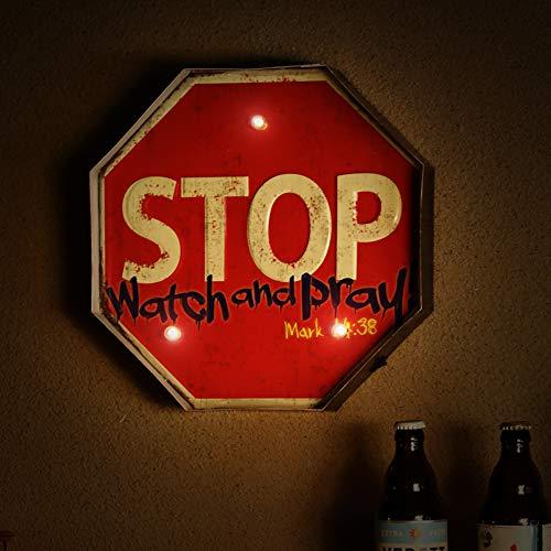 panasign Cafe Pfeil Vintage Metall Decor LED Neon Light Schild OPEN Wand Decor Store Schild Geschenk für Chiristmas Thanksgiving Day Halloween schwarz Freitag Deals Stop Signs ()