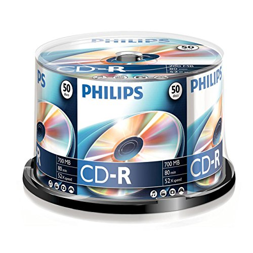 Philips CD-R Rohlinge (700 MB Data/80 Minuten, 52x High Speed Aufnahme, 50er Spindel) (Video-stereo-auto)