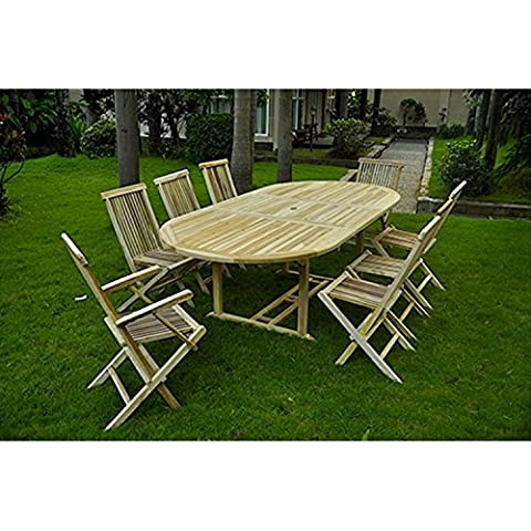 El Morotai: salón de jardín (teca maciza: bandeja XXL 10–12personas–mesa ovalada y 6sillas y