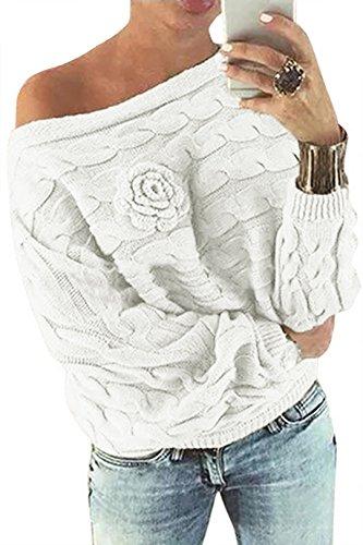 YOINS Donna Maglione Floreale Felpa Spalle Scoperte Pullover Manica Lunga Maglioni Maniche a Pipistrello Tops Casuale Bianco EU46