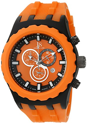 Joshua & Sons Men's JS59OR Orange Multifunction Swiss Quartz Watch with Orange Dial and Orange Silicone Strap