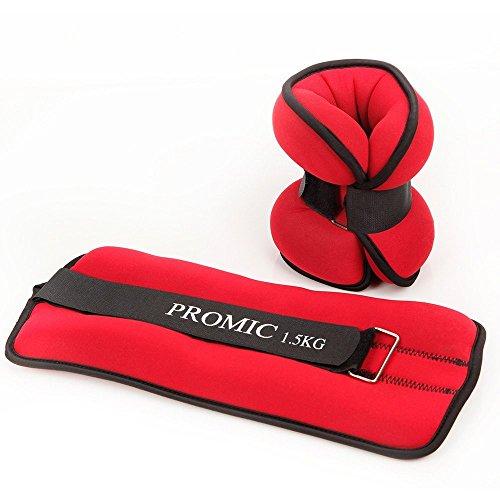 Promic 2er Set Ankle Weights, 2x 0,5kg – 2x 2kg Neopren Gewichtsmanschetten für Handgelenke und Fußgelenke, Rot - 2 x 1,5 kg