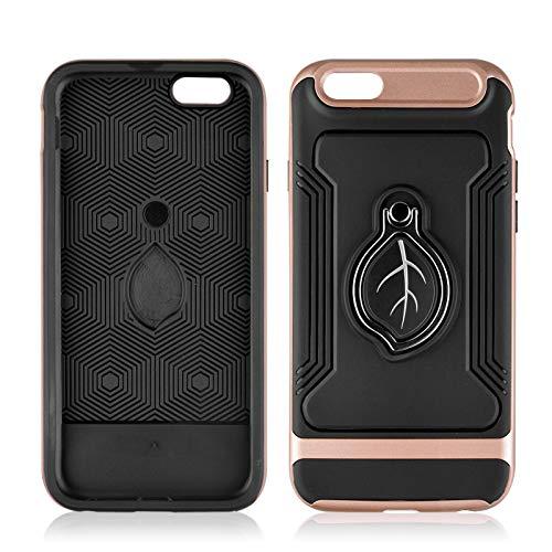 Hülle Apple iPhone 6S Handyhülle für Case iPhone 6S chutz hülle mit Dünn Bumper case Stoßfest Stand 360 Grad Drehbarer Ständer für Magnetische Autohalterung (Rose Gold-Schwarz, iPhone 6S/6 4.7