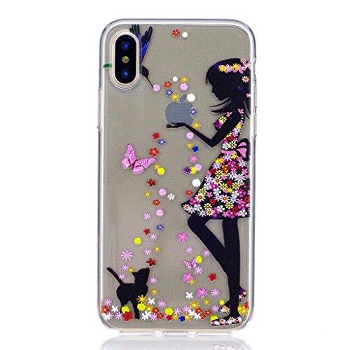 Per iPhone X Cover , YIGA bianco fiore Cristallo Trasparente Silicone Morbido TPU Case Caso Shell Protezione Copertura Custodia Copertina per Apple iPhone X (5,8 pollici) WM49