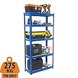 Garagenregale / Stahlregal 275 kg pro Regal (5 Stufen 1800 mm H x 900 mm B x 300 mm D)
