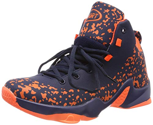 ASHION Sportive Scarpe da Basket Uomo Sneaker(Blu/Arancione EU42)