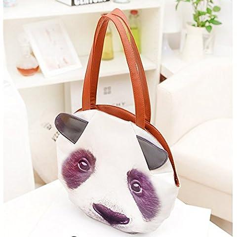 Las mujeres señora lindo gato 3D animales perro cabeza Pu cuero bolso bandolera bolsos