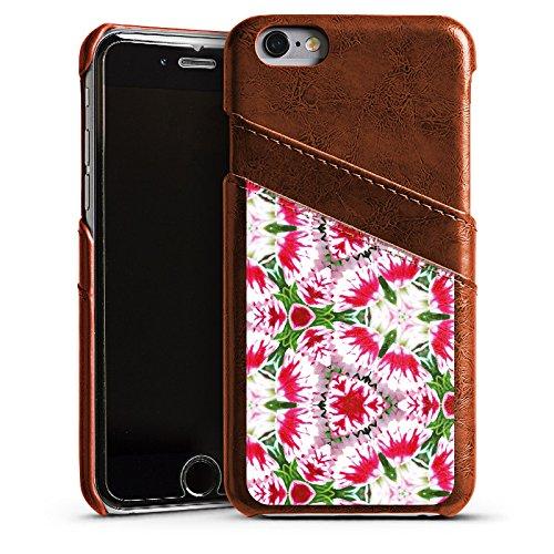 Apple iPhone 4 Housse Étui Silicone Coque Protection Moderne Kaléidoscope Fleurs Étui en cuir marron