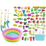 Batop Angelspiel badewanne, 80Pcs Bade Angeln Spielzeug mit Schwimmenden Fisch, Magnetic Angelrute...