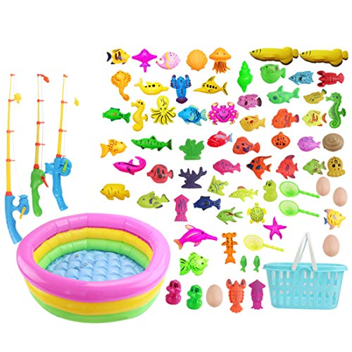 Seciie Magnete Angelspiel, 80er Set Magnetisches Angeln Spielzeug Wasserspiel Badespielzeug in der Badewanne Lernspielset zum Angelnlernen
