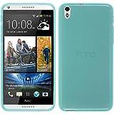 PhoneNatic Case kompatibel mit HTC Desire 816 - türkis Silikon Hülle transparent + 2 Schutzfolien