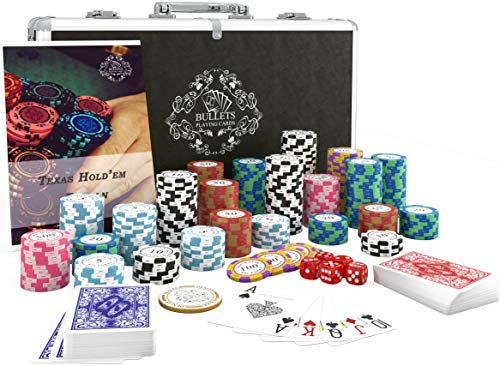 Bullets Playing Cards - Pokerkoffer mit 300 Clay Pokerchips