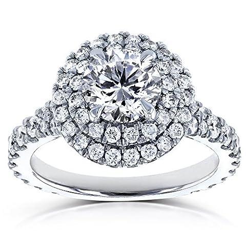 Round Diamond Double Halo Split Shank Engagement Ring 2 1/10